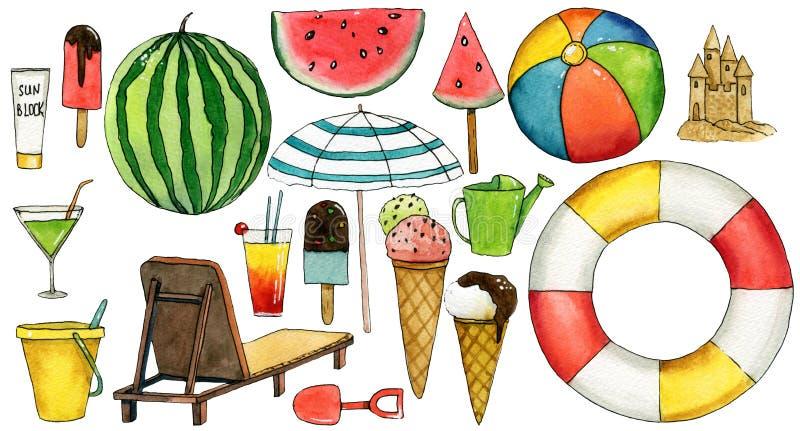 Σύνολο συρμένων στοιχείων watercolor ταξιδιού χέρι με την ομπρέλα, καρπούζι, παγωτό, σφαίρα, lifebuoy, μόνιππο -μόνιππο-longue, κ ελεύθερη απεικόνιση δικαιώματος