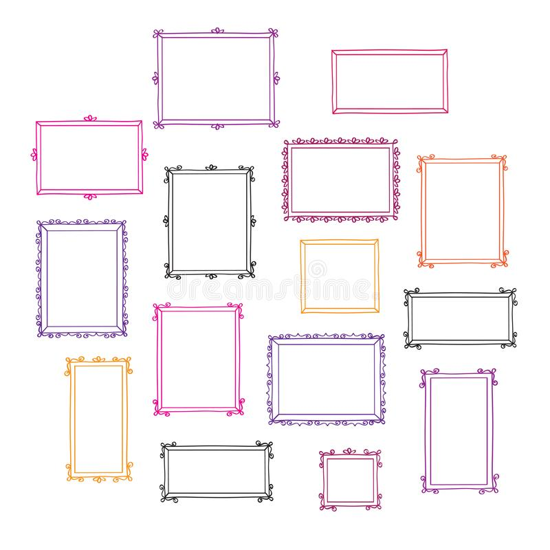 Σύνολο συρμένων χέρι διακοσμητικών εκλεκτής ποιότητας πλαισίων φωτογραφιών Doodles, σκίτσο για το σχέδιό σας διανυσματική απεικόνιση