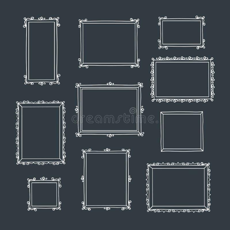 Σύνολο συρμένων χέρι διακοσμητικών τετραγωνικών πλαισίων φωτογραφιών Εκλεκτής ποιότητας πλαίσια ελεύθερη απεικόνιση δικαιώματος