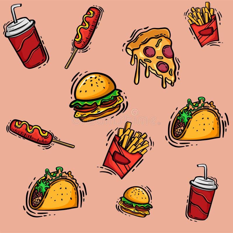 Σύνολο συρμένων χέρι επιλογών γρήγορου φαγητού για το διανυσματικό σχέδιο σκίτσων διαφήμισης ή συσκευασίας απεικόνιση αποθεμάτων