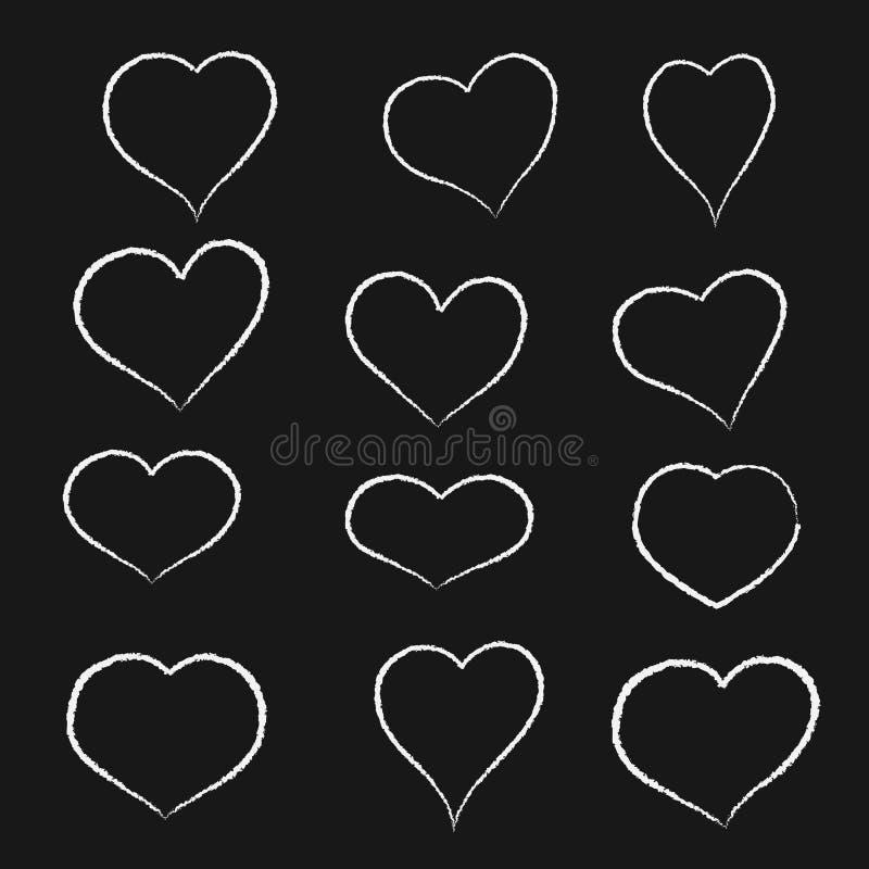 Σύνολο συρμένων χέρι καρδιών σκίτσων Διανυσματική συλλογή εικονιδίων ύφους grunge Απεικόνιση το επάνω άσπρο υπόβαθρο ελεύθερη απεικόνιση δικαιώματος