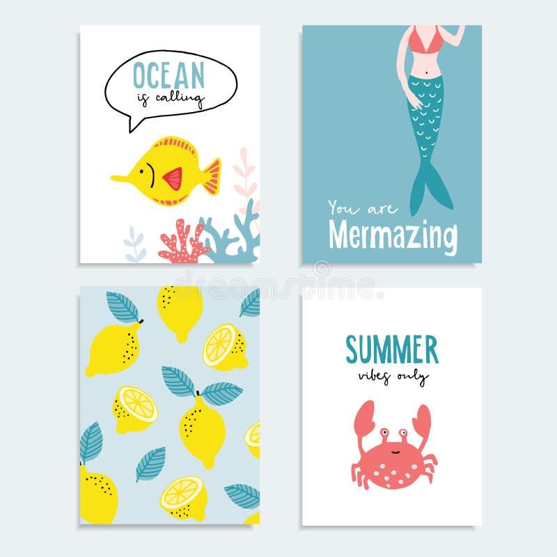 Σύνολο συρμένων χέρι καρτών θερινής χαιρετισμού ή περιστροφής Τροπικό σχέδιο με τα φρούτα λεμονιών, ψάρια, ocral σκόπελος, καβούρ ελεύθερη απεικόνιση δικαιώματος