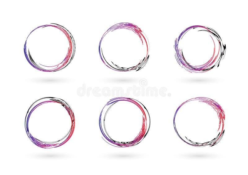 Σύνολο συρμένων χέρι πλαισίων κύκλων Αφηρημένα πλαίσια Grunge doodle που απομονώνονται στο άσπρο υπόβαθρο αφηρημένο σύνολο πλαισί διανυσματική απεικόνιση