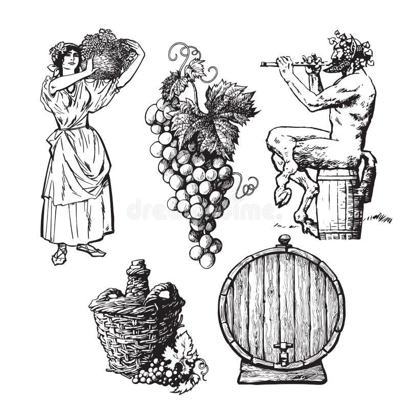 Σύνολο συρμένων χέρι στοιχείων για το σχέδιο κρασιού ελεύθερη απεικόνιση δικαιώματος