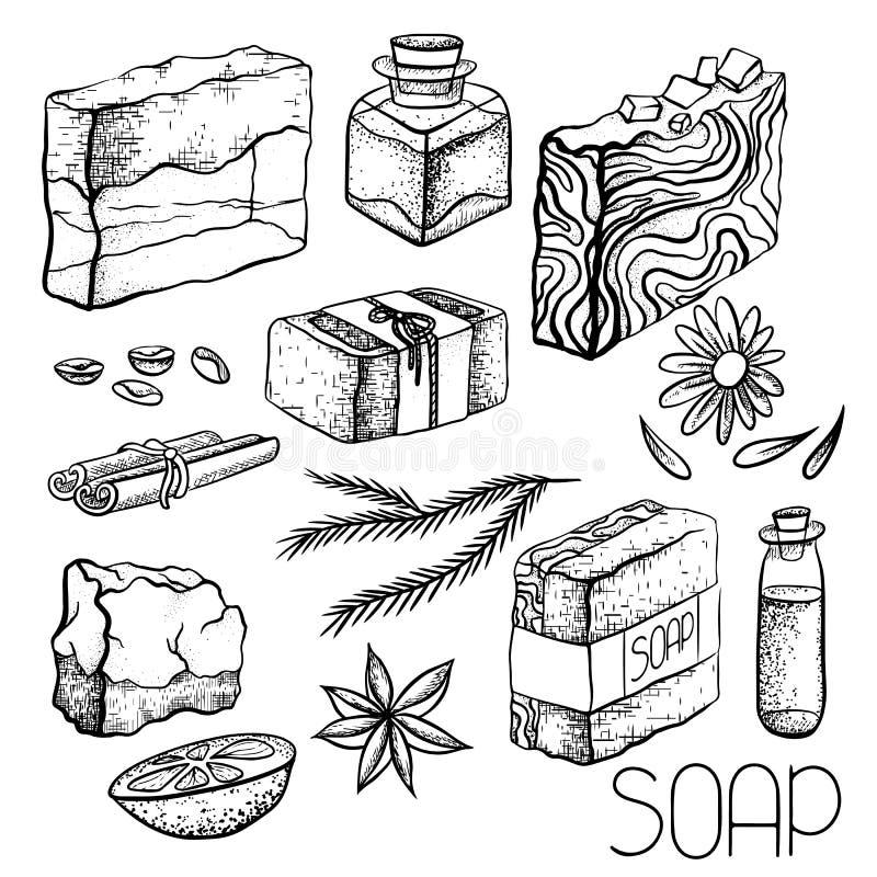 Σύνολο συρμένων χέρι χειροποίητων σαπουνιών και συστατικών για την παραγωγή σαπουνιών Σαπούνι χεριών, κανέλα, καφές, πετρέλαιο, π απεικόνιση αποθεμάτων
