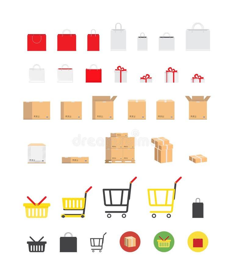 Σύνολο συσκευασιών και κιβωτίων για το κατάστημα και τη μεταφορά Επίπεδη διανυσματική απεικόνιση EPS 10 διανυσματική απεικόνιση