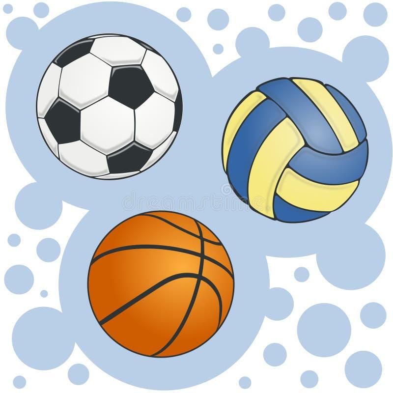 Σύνολο σφαιρών για την πετοσφαίριση και την καλαθοσφαίριση ποδοσφαίρ απεικόνιση αποθεμάτων