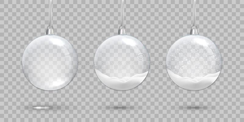 Σύνολο σφαιρών Cristmas Κενές διαφανείς σφαίρα και σφαίρες γυαλιού με το χιόνι στο διαφανές υπόβαθρο Διανυσματικά Χριστούγεννα κα ελεύθερη απεικόνιση δικαιώματος