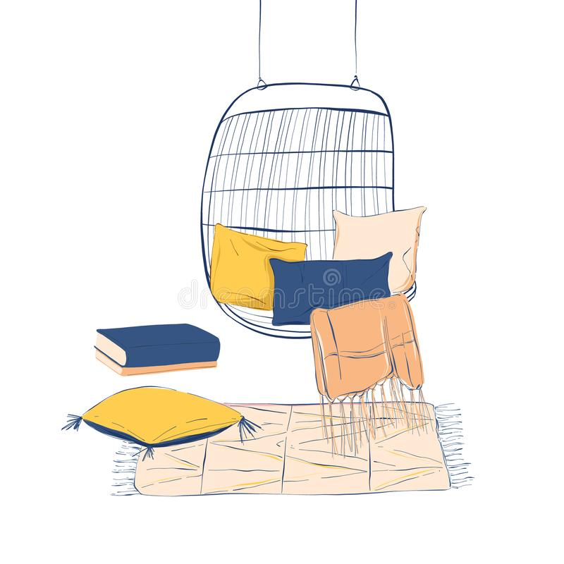Σύνολο σχεδίασης εσωτερικών χώρων: κρεμαστή καρέκλα, μαξιλάρια, κάλυμμα, χαλί Συλλογή με επίπλωση διά χειρός Μοντέρνα μακράμ στην ελεύθερη απεικόνιση δικαιώματος
