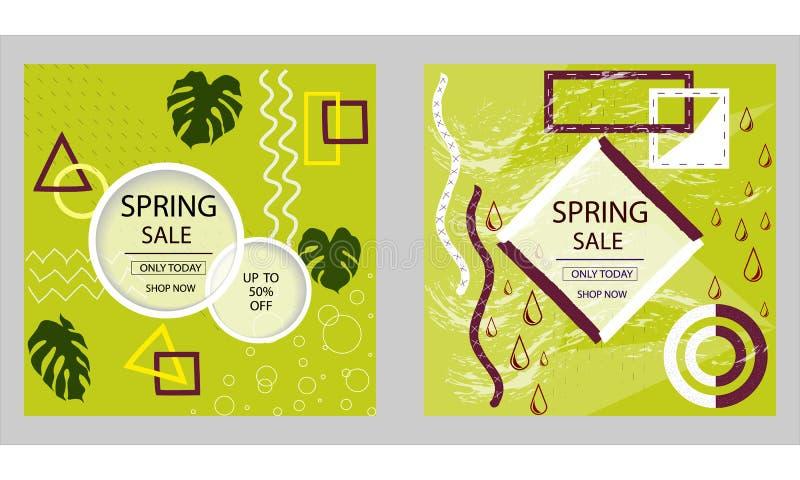 Σύνολο σχεδίου για τα εμβλήματα Ιστού πώλησης άνοιξη, αφίσες Το αγαθό για τα κοινωνικά μέσα, ηλεκτρονικό ταχυδρομείο, τυπωμένη ύλ ελεύθερη απεικόνιση δικαιώματος