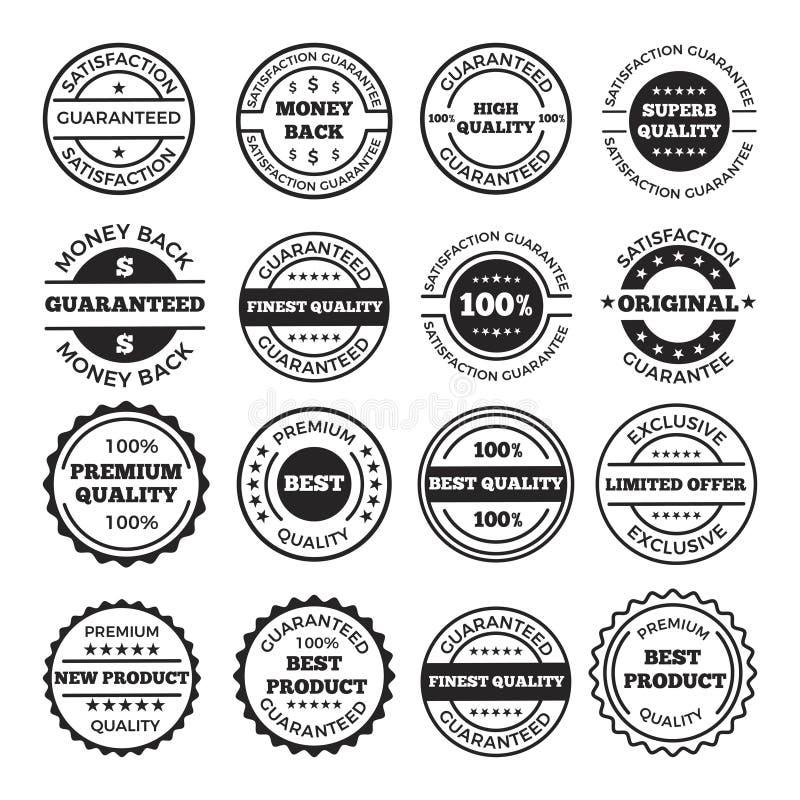 Σύνολο σχεδίου διακριτικών και λογότυπων εγγύησης Διανυσματικές μονοχρωματικές εικόνες διανυσματική απεικόνιση