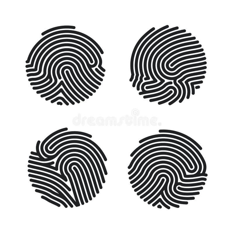 Σύνολο σχεδίου εικονιδίων δακτυλικών αποτυπωμάτων κύκλων για app Επίπεδη ανίχνευση δακτυλικών αποτυπωμάτων Προσωπική ταυτότητα γι ελεύθερη απεικόνιση δικαιώματος