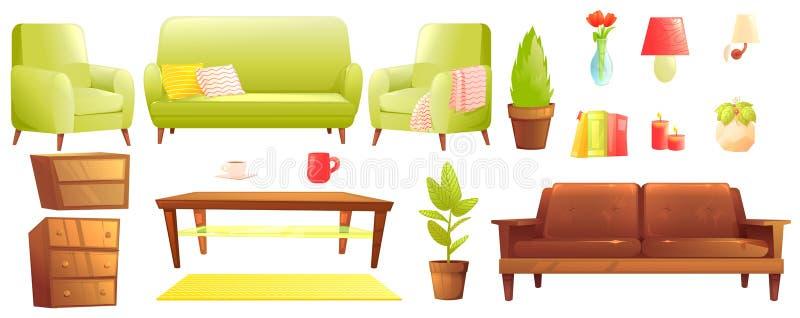 Σύνολο σχεδίου επίπλων Σύγχρονοι καναπές και καρέκλες με ένα κάλυμμα, μαξιλάρια και δίπλα σε ένα ξύλινο τραπεζάκι σαλονιού ελεύθερη απεικόνιση δικαιώματος