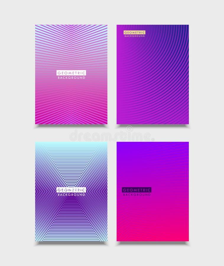 Σύνολο σχεδίου καλύψεων φυλλάδιων Ημίτοές κλίσεις με τη γραμμή Μελλοντικό γεωμετρικό πρότυπο για το φυλλάδιο, αφίσα, ιπτάμενο διά διανυσματική απεικόνιση
