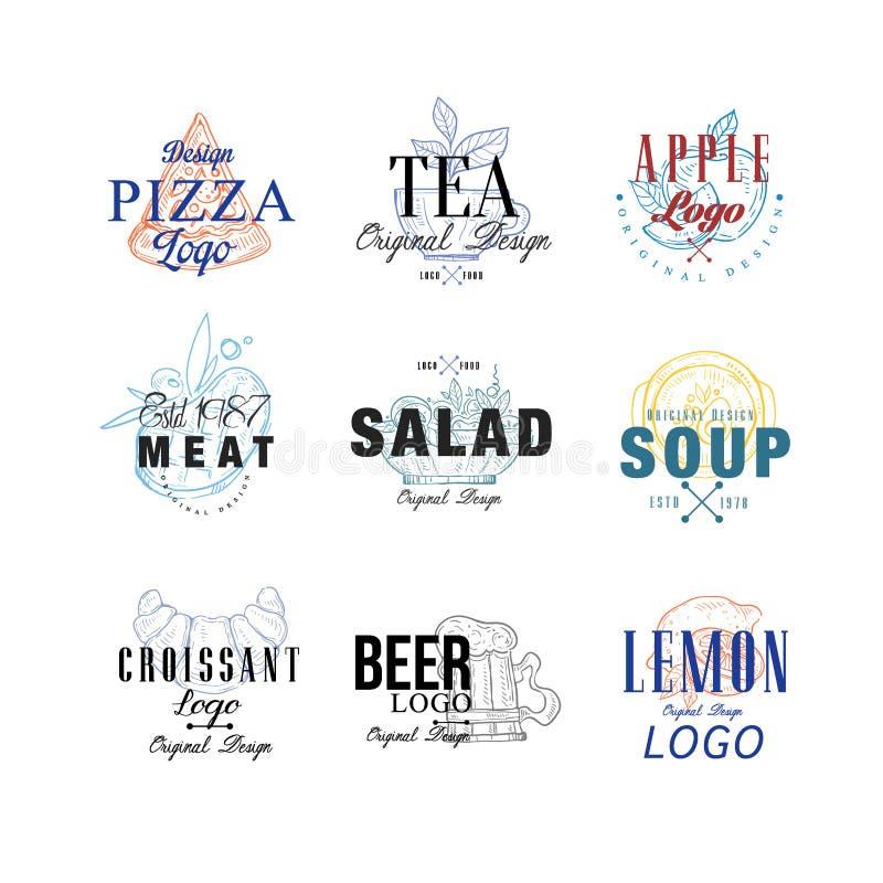 Σύνολο σχεδίου λογότυπων τροφίμων, πίτσα, τσάι, μήλο, κρέας, σαλάτα, σούπα, croissant, λεμόνι, εμβλήματα μπύρας για τον καφέ, εστ απεικόνιση αποθεμάτων