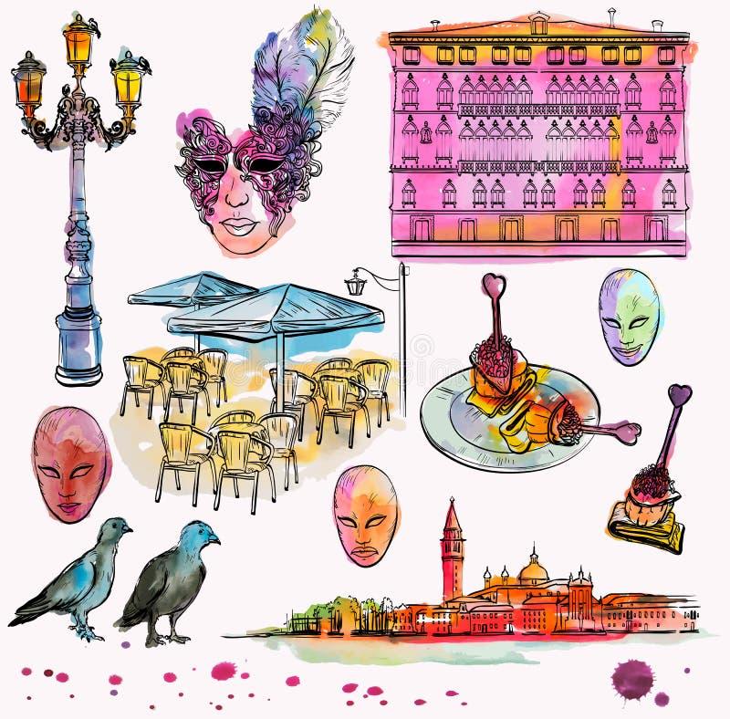 Σύνολο σχεδίων και watercolor χεριών σκίτσου της Βενετίας ελεύθερη απεικόνιση δικαιώματος