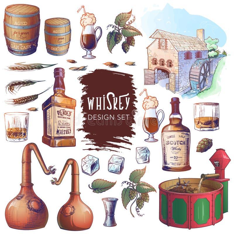 Σύνολο σχεδιαστικών στοιχείων που σχετίζονται με το ουίσκι Χρήσιμο για μάρκες και διακόσμηση από μπαρ ή αποστακτήρια στοκ φωτογραφία με δικαίωμα ελεύθερης χρήσης