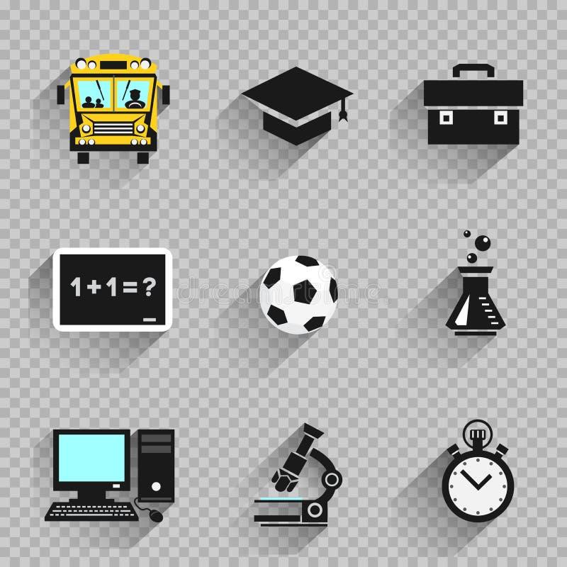 Σύνολο σχολικών επίπεδο εικονιδίων εκπαίδευσης απεικόνιση αποθεμάτων