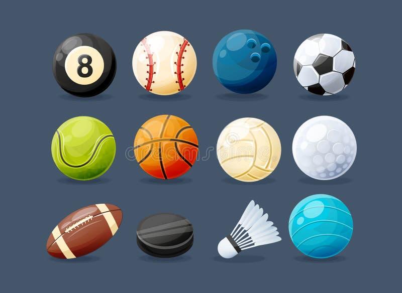 Σύνολο σύγχρονου αθλητικού εξοπλισμού από τους τύπους differents αθλητισμού ελεύθερη απεικόνιση δικαιώματος