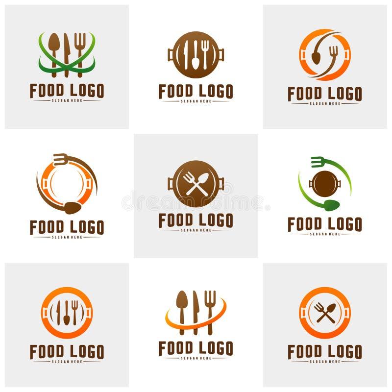 Σύνολο σύγχρονου μινιμαλιστικού διανυσματικού λογότυπου των τροφίμων Μαγειρεύοντας πρότυπο λογότυπων Ετικέτα για το εστιατόριο ή  διανυσματική απεικόνιση