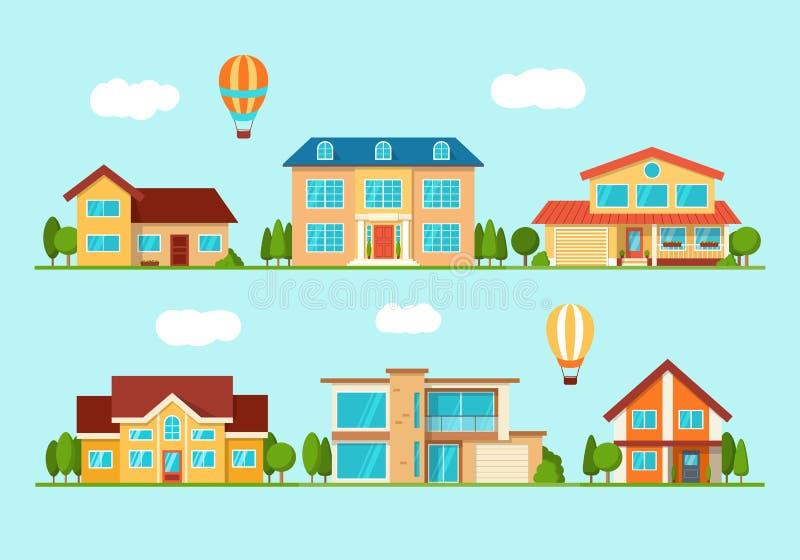 Σύνολο σύγχρονου σπιτιού εξοχικών σπιτιών πόλεων, μπροστινή άποψη απεικόνιση αποθεμάτων