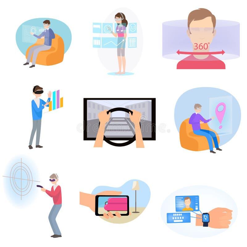 Σύνολο σύγχρονων διαφορετικών εικονιδίων της εικονικής ή αυξημένης πραγματικότητας διανυσματική απεικόνιση