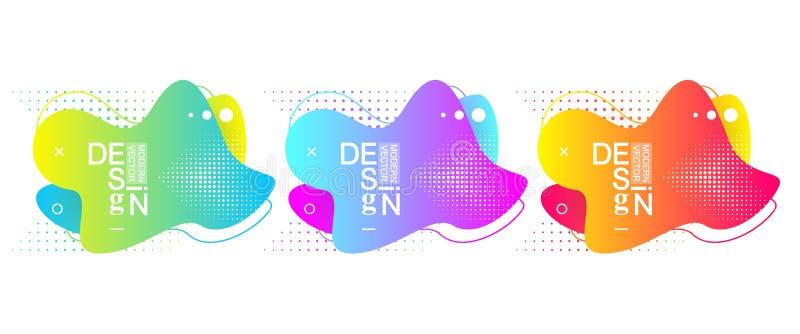 Σύνολο σύγχρονων ελάχιστων παφλασμών υγρής κλίσης με τα δυναμικά χρώματα Διανυσματικό σχέδιο για την κάλυψη, ευχετήρια κάρτα, αφί ελεύθερη απεικόνιση δικαιώματος