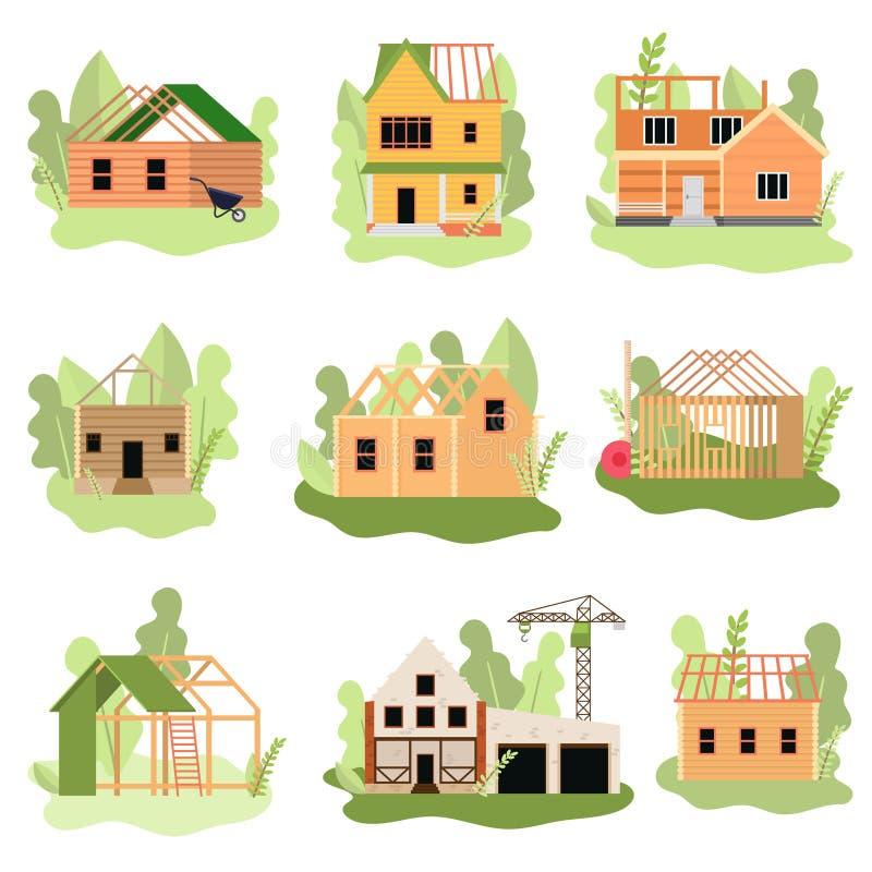 Σύνολο σύγχρονων σπιτιών ξύλου ή πετρών κάτω από την κατασκευή διανυσματική απεικόνιση