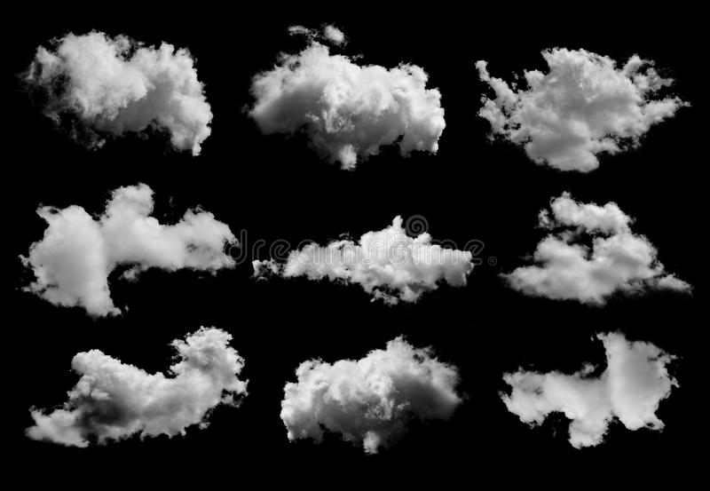 Σύνολο σύννεφων στο μαύρο υπόβαθρο στοκ εικόνα