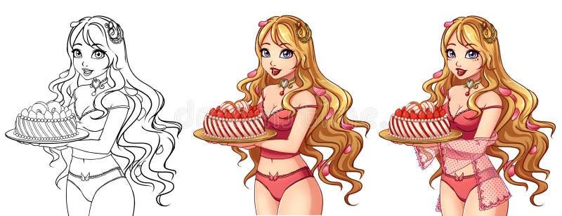 Σύνολο τέχνης περιγράμματος τριών χαριτωμένης κοριτσιών κινούμενων σχεδίων και χρωματισμένος απεικόνιση αποθεμάτων