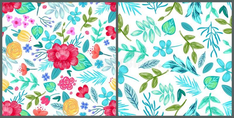 Σύνολο ταπετσαριών με συρμένα τα μολύβι λουλούδια διανυσματική απεικόνιση