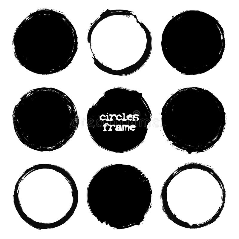 Σύνολο ταχυδρομικών σφραγίδων Grunge, κύκλοι Στρογγυλά εμβλήματα, κιβώτια, πλαίσια, ετικέτες ή διακριτικά, υπόβαθρα Διανυσματικός διανυσματική απεικόνιση