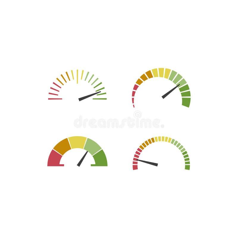 Σύνολο ταχυμέτρων χρώματος, flowmeter με το δείκτη στο πράσινες, πορτοκαλιές και κόκκινες μέρος, το ταχύμετρο και την απόδοση ελεύθερη απεικόνιση δικαιώματος