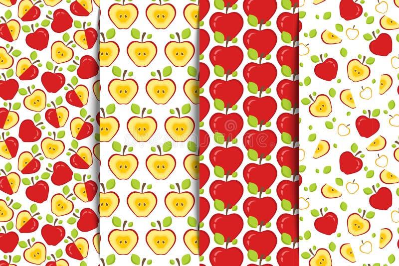 Σύνολο τεσσάρων άνευ ραφής σχεδίων με κόκκινα ολόκληρα και τα κατά το ήμισυ τεμαχισμένα μήλα σε ένα άσπρο υπόβαθρο Υπόβαθρο φρούτ ελεύθερη απεικόνιση δικαιώματος