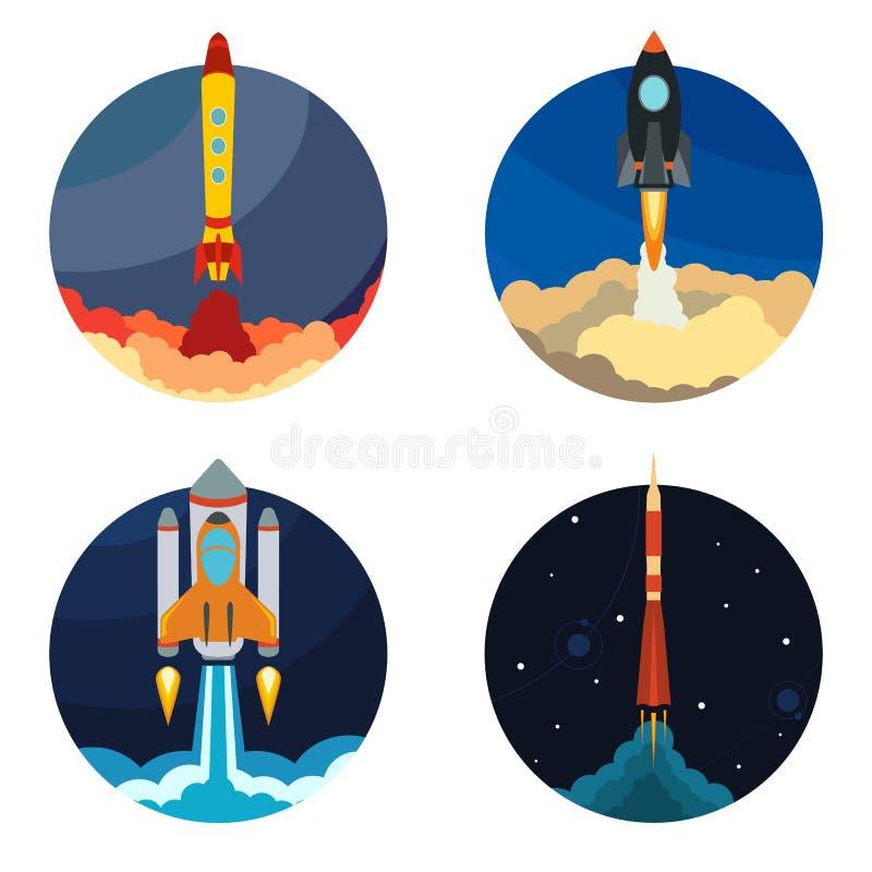 Σύνολο τεσσάρων απεικονίσεων με τη διαστημική έναρξη σκαφών πυραύλων ελεύθερη απεικόνιση δικαιώματος