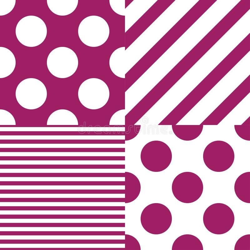 Σύνολο τεσσάρων διανυσματικών άνευ ραφής σχεδίων Άσπρα και πορφυρά χρώματα διανυσματική απεικόνιση