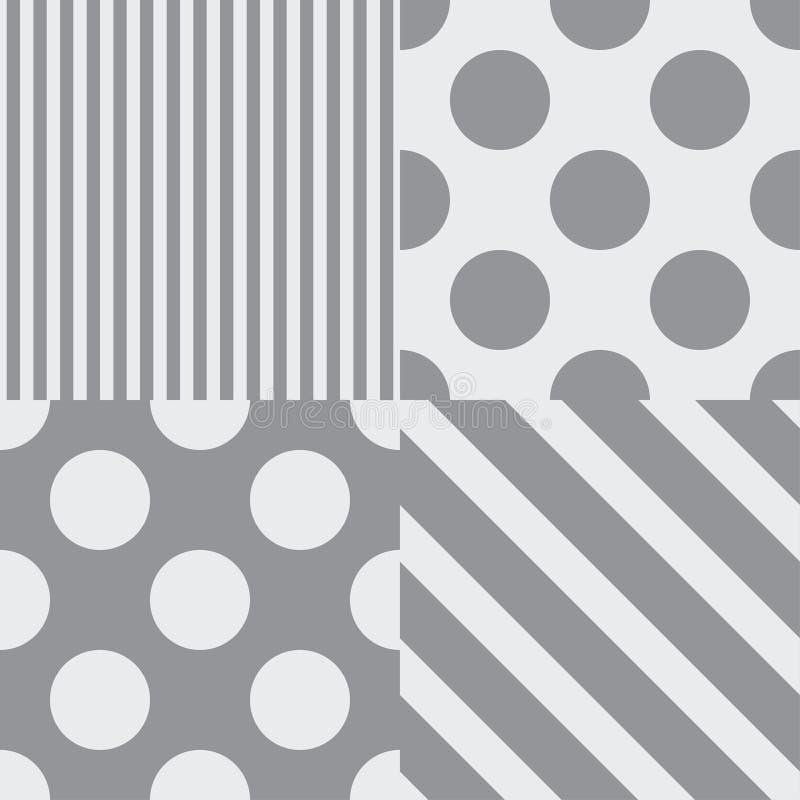 Σύνολο τεσσάρων διανυσματικών άνευ ραφής σχεδίων Γκρίζα χρώματα διανυσματική απεικόνιση