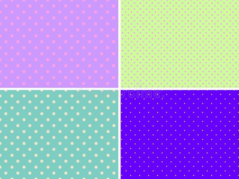 Σύνολο τεσσάρων διανυσματικών άνευ ραφής σχεδίων με ένα διαφορετικό σημείο Πόλκα Φωτεινά χρώματα απεικόνιση αποθεμάτων