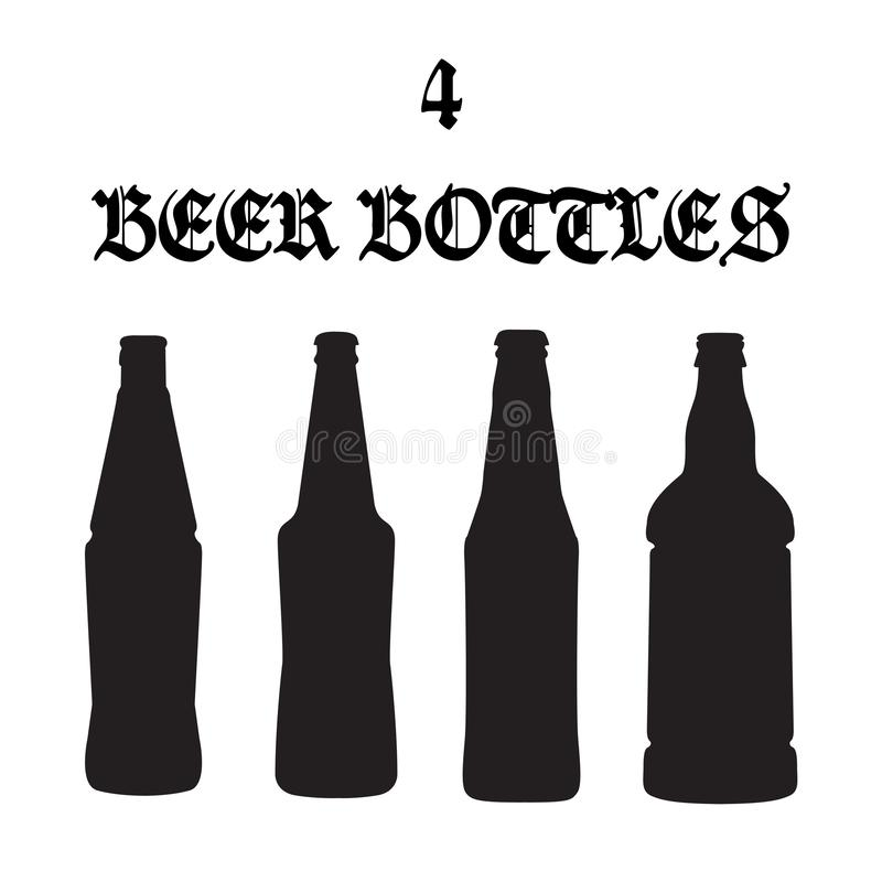 Σύνολο τεσσάρων διανυσματικών εικονιδίων μπουκαλιών μπύρας διανυσματική απεικόνιση