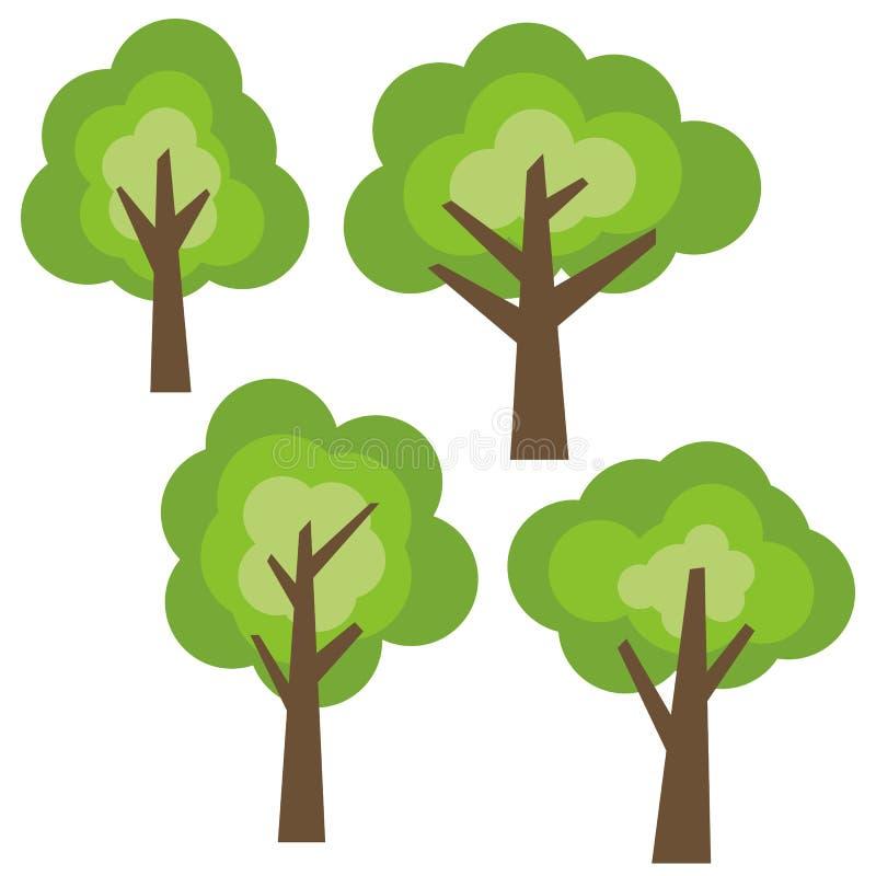 Σύνολο τεσσάρων διαφορετικών πράσινων δέντρων κινούμενων σχεδίων που απομονώνεται στο άσπρο υπόβαθρο ελεύθερη απεικόνιση δικαιώματος