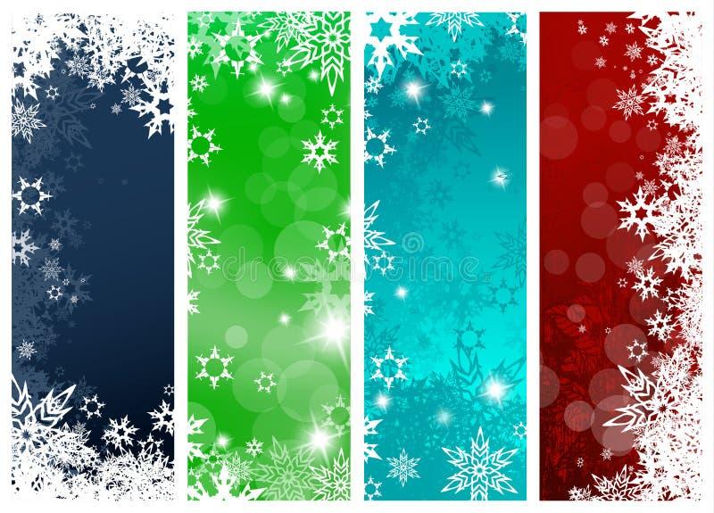 Σύνολο τεσσάρων ζωηρόχρωμων εμβλημάτων υποβάθρου Χριστουγέννων διανυσματική απεικόνιση