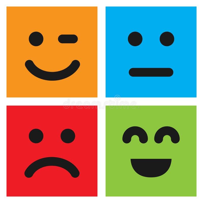 Σύνολο τεσσάρων ζωηρόχρωμων emoticons με τα πρόσωπα emoji διανυσματική απεικόνιση