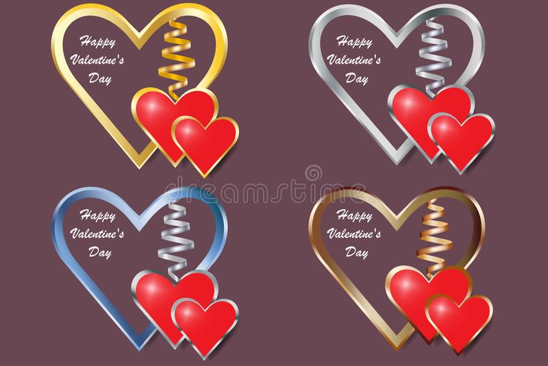 Σύνολο τεσσάρων καρδιών πλαισίων μετάλλων για την ημέρα βαλεντίνων ` s απεικόνιση αποθεμάτων