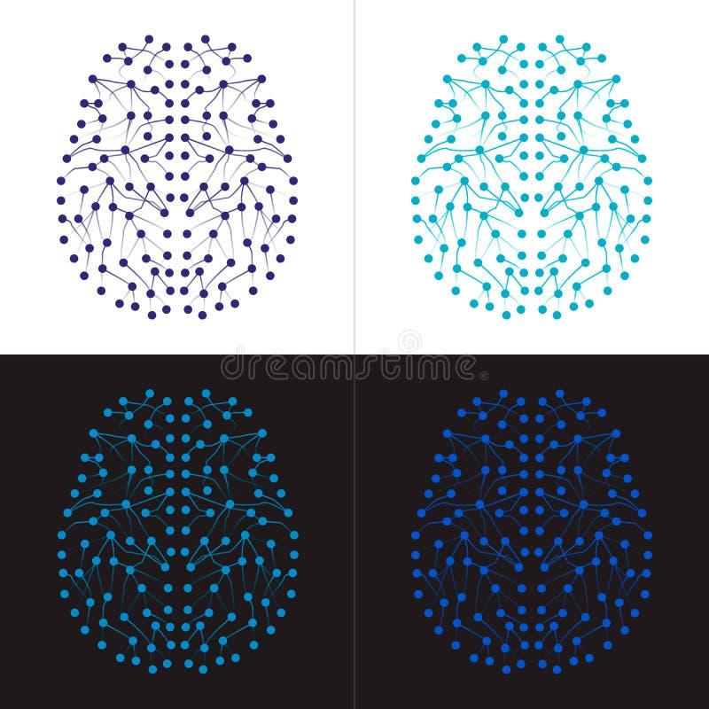 Σύνολο τεσσάρων νευρικών δικτύων που διαμορφώνουν τον ανθρώπινο εγκέφαλο απεικόνιση αποθεμάτων