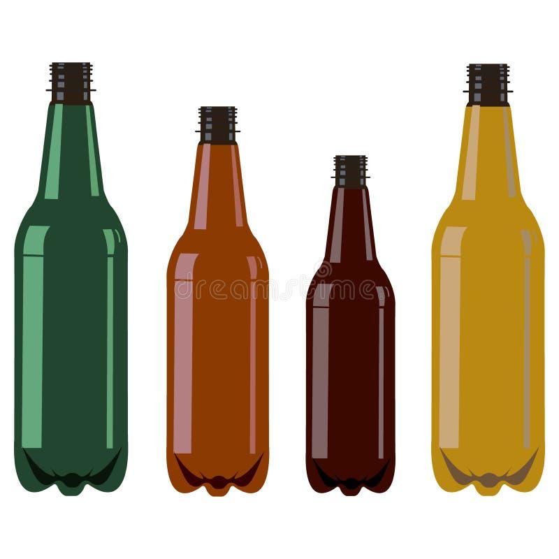 Σύνολο τεσσάρων πλαστικών μπουκαλιών χωρίς οποιαδήποτε κάλυψη ελεύθερη απεικόνιση δικαιώματος