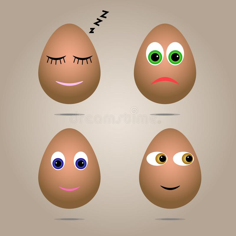 Σύνολο τεσσάρων ρεαλιστικών καφετιών αυγών κοτόπουλου Τα αυγά είναι χρωματισμένα με τις συγκινήσεις υπό μορφή αστείων προσώπων Δι απεικόνιση αποθεμάτων