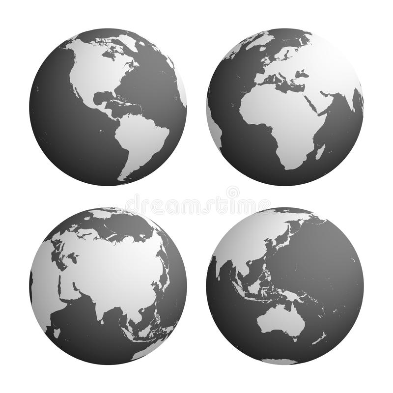 Σύνολο τεσσάρων σφαιρών πλανήτη Γη με τον ανοικτό γκρι χάρτη σκιαγραφιών εδάφους ελεύθερη απεικόνιση δικαιώματος