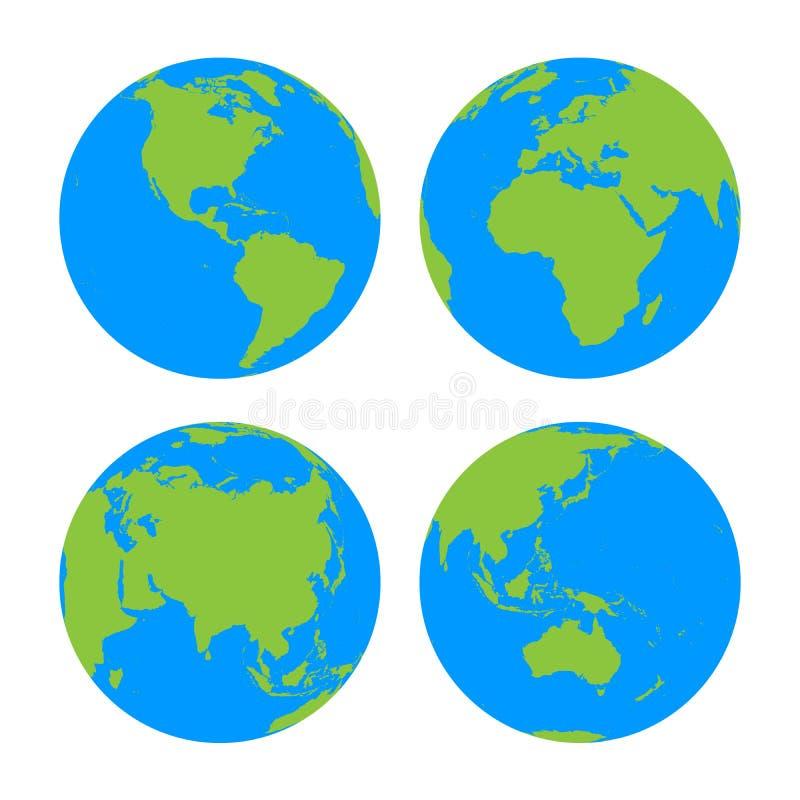 Σύνολο τεσσάρων σφαιρών πλανήτη Γη με τον πράσινο χάρτη σκιαγραφιών εδάφους διανυσματική απεικόνιση