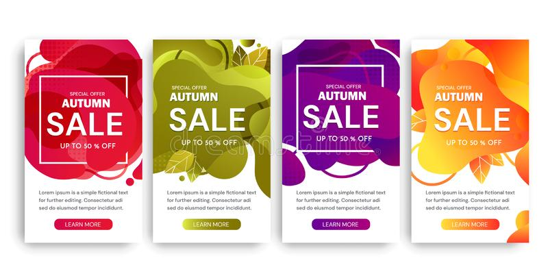 Σύνολο τεσσάρων σχεδίων αφισών πώλησης φθινοπώρου στα διαφορετικά χρώματα που προσφέρουν μέχρι την έκπτωση 50 τοις εκατό και τις  ελεύθερη απεικόνιση δικαιώματος