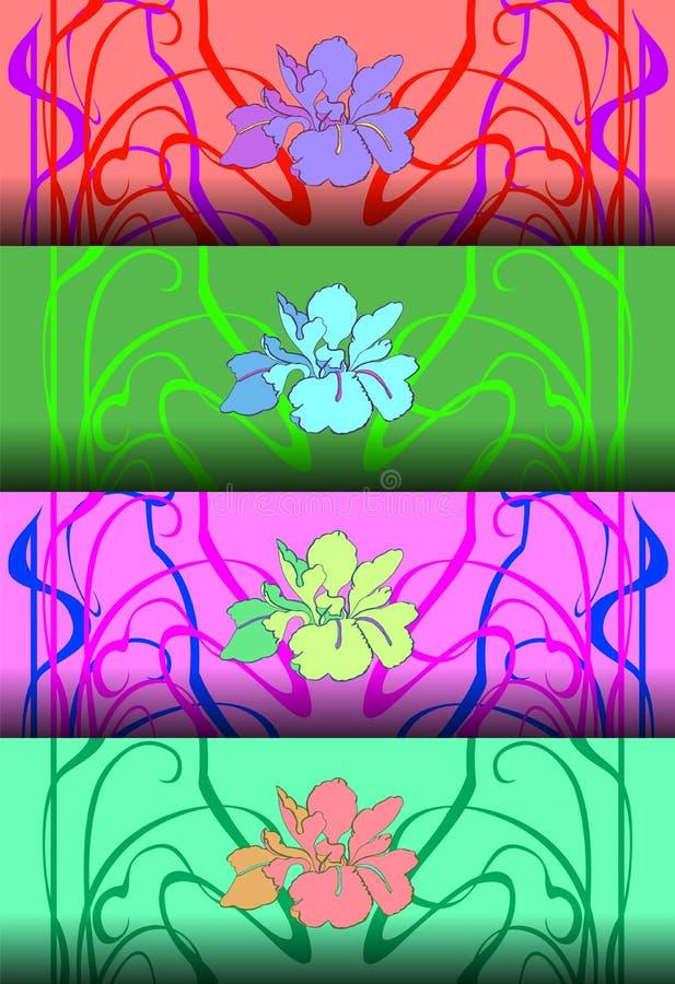 Σύνολο τεσσάρων σχεδίων στο ύφος Nouveau τέχνης επίσης corel σύρετε το διάνυσμα απεικόνισης διανυσματική απεικόνιση